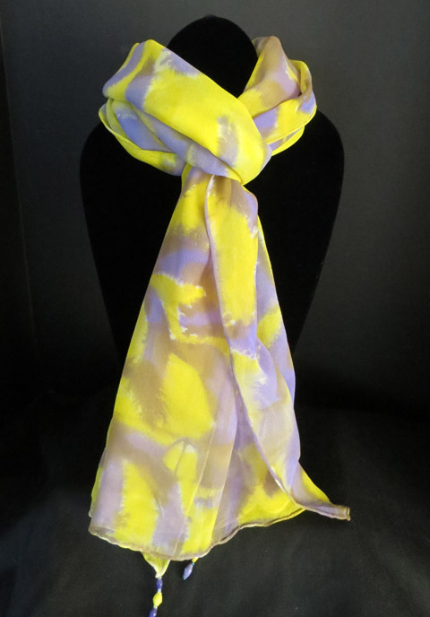 Chiffon (silk) scarf - neon yellow & royal purple