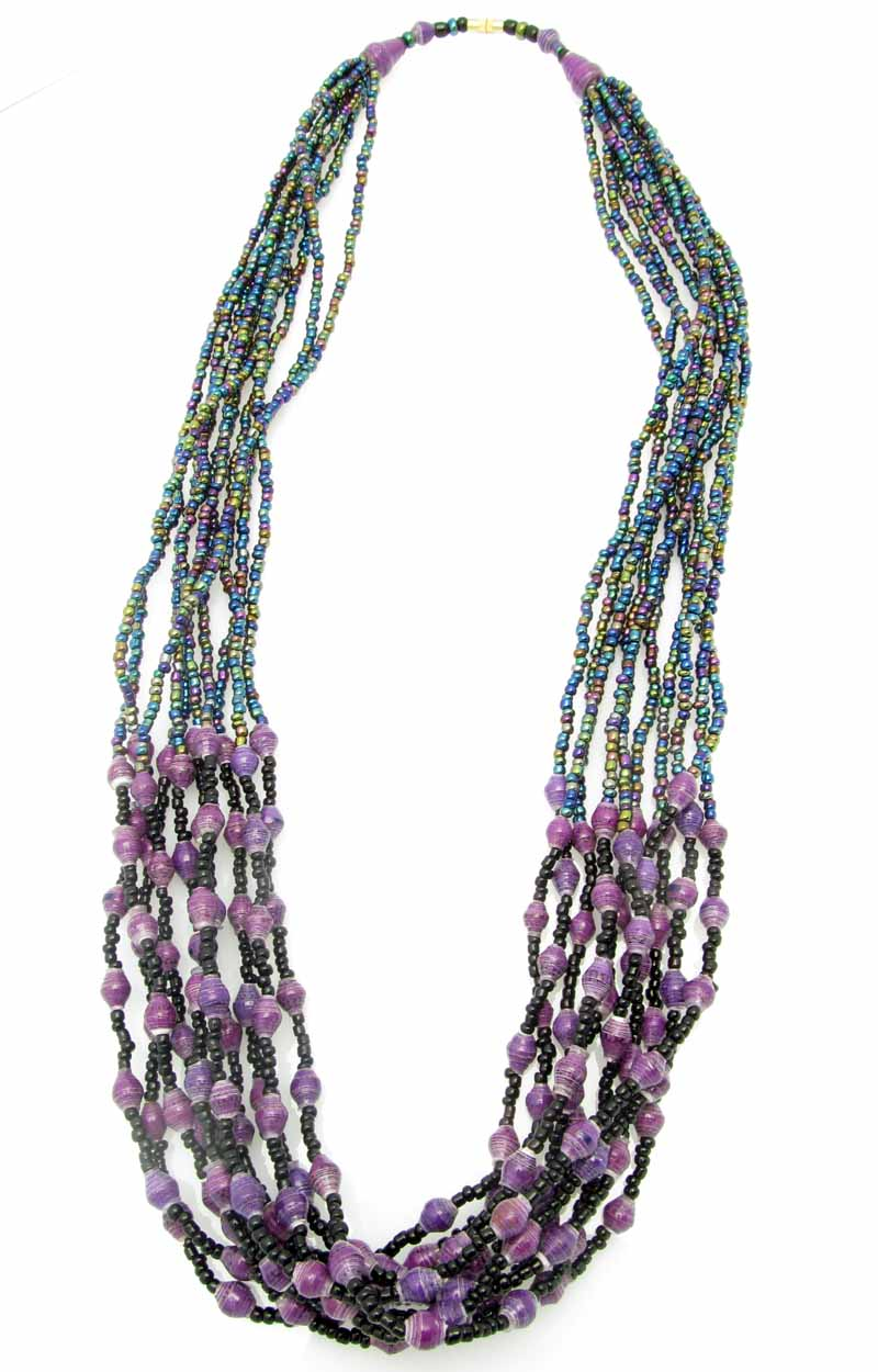 Paper/seed bead multi-strand - purple necklace