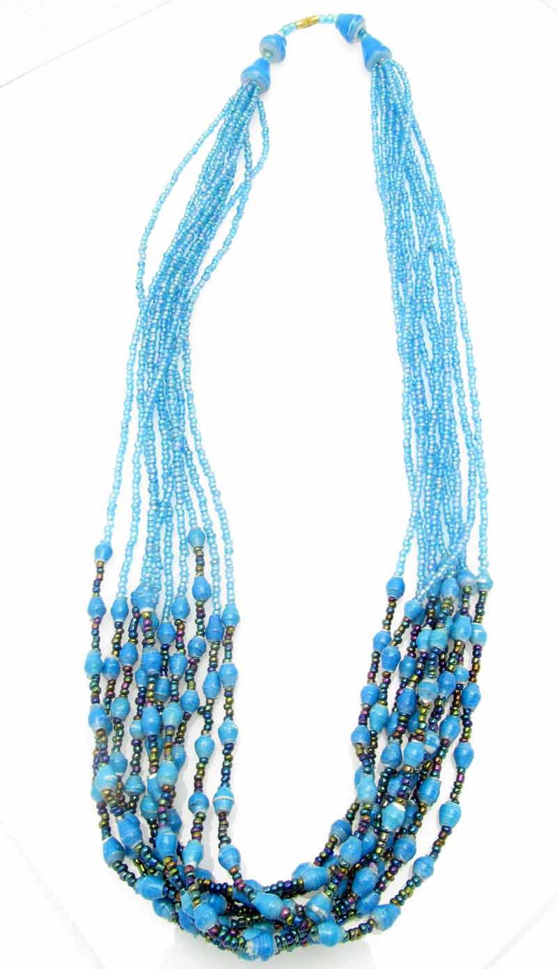 Paper/seed bead multi-strand - turquoise necklace