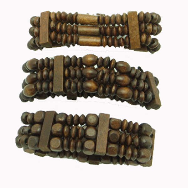 Dark brown ovals & others wood bead bracelet