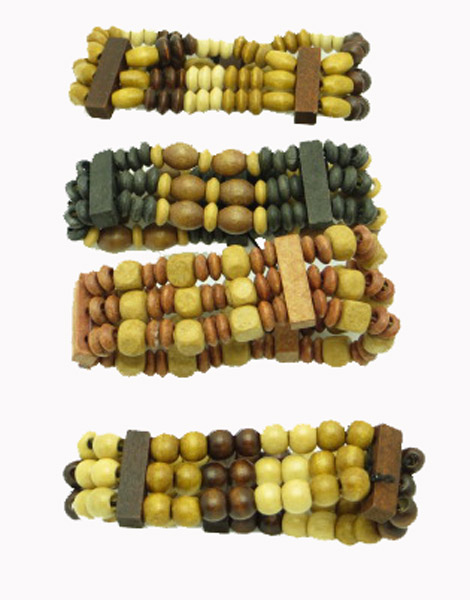 Neutral wood bead bracelet in assorted shapes