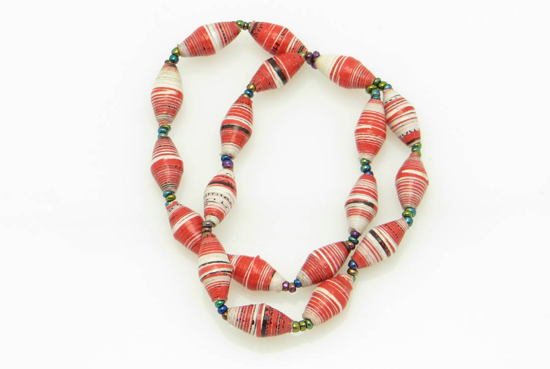 2-strand bracelet - red & white striped w/ flecks