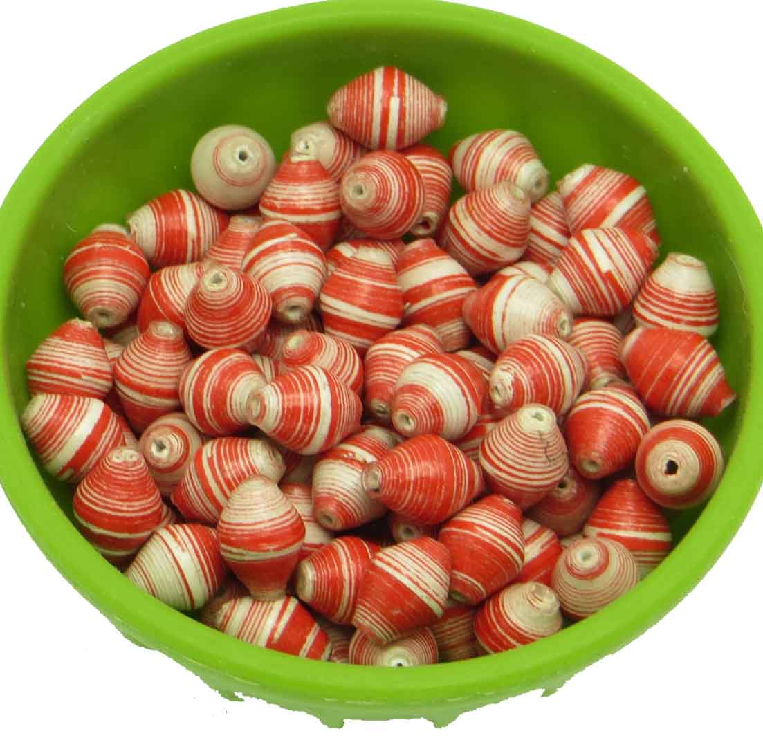 Mini cone beads - red & white striped