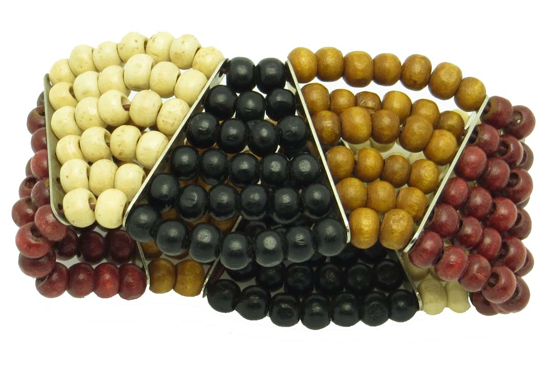 Triangles wood shades bead bracelet