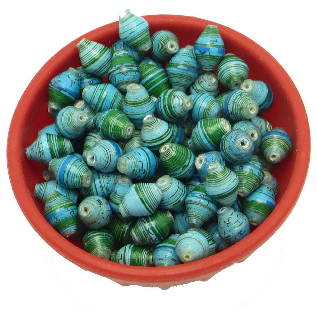 Mini cone beads - light blue & green stripes