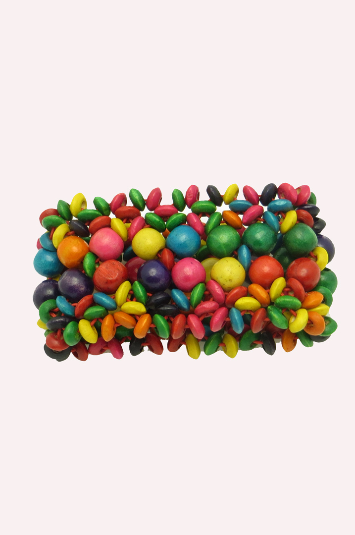 Bright colors wood bead bracelet