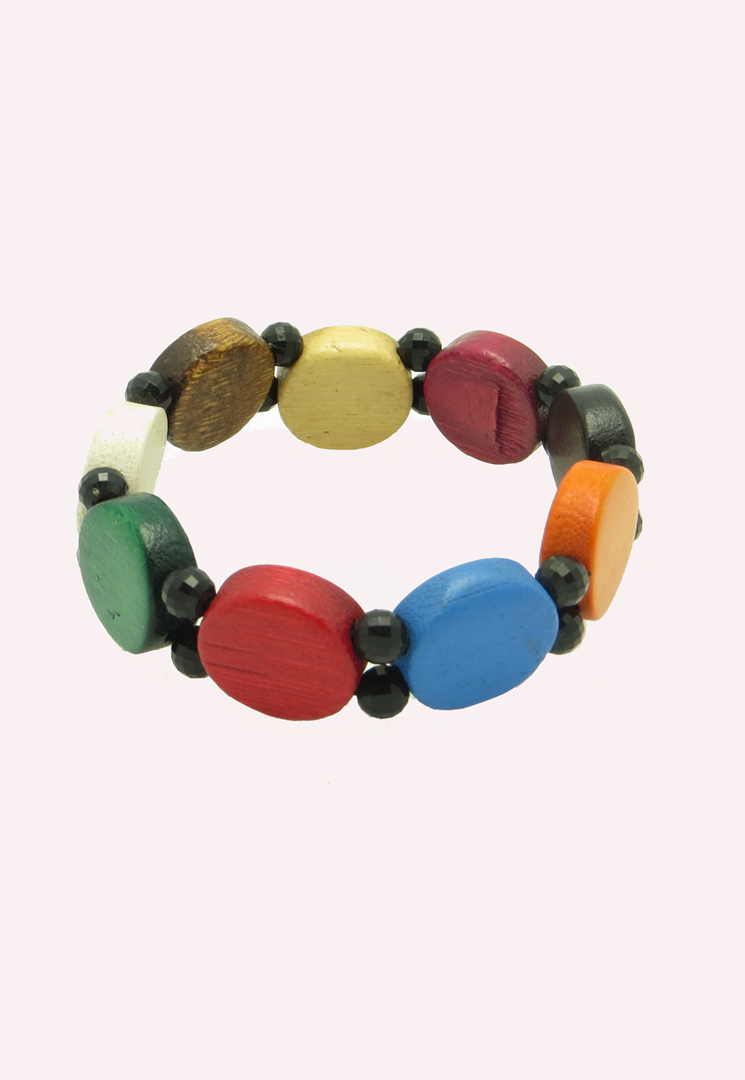Circle pieces wood bead bracelet