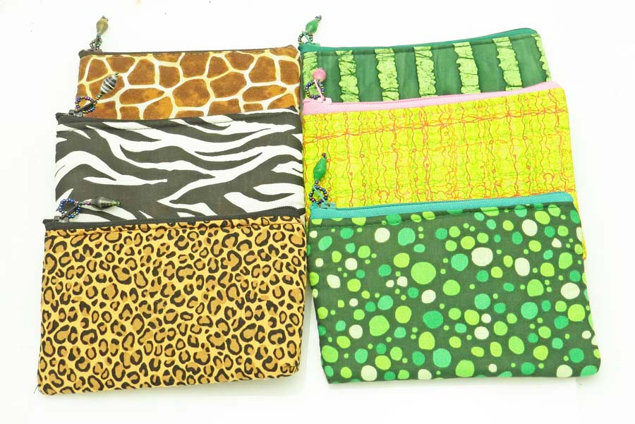 *Cloth Coin Purse* - greens and animal prints