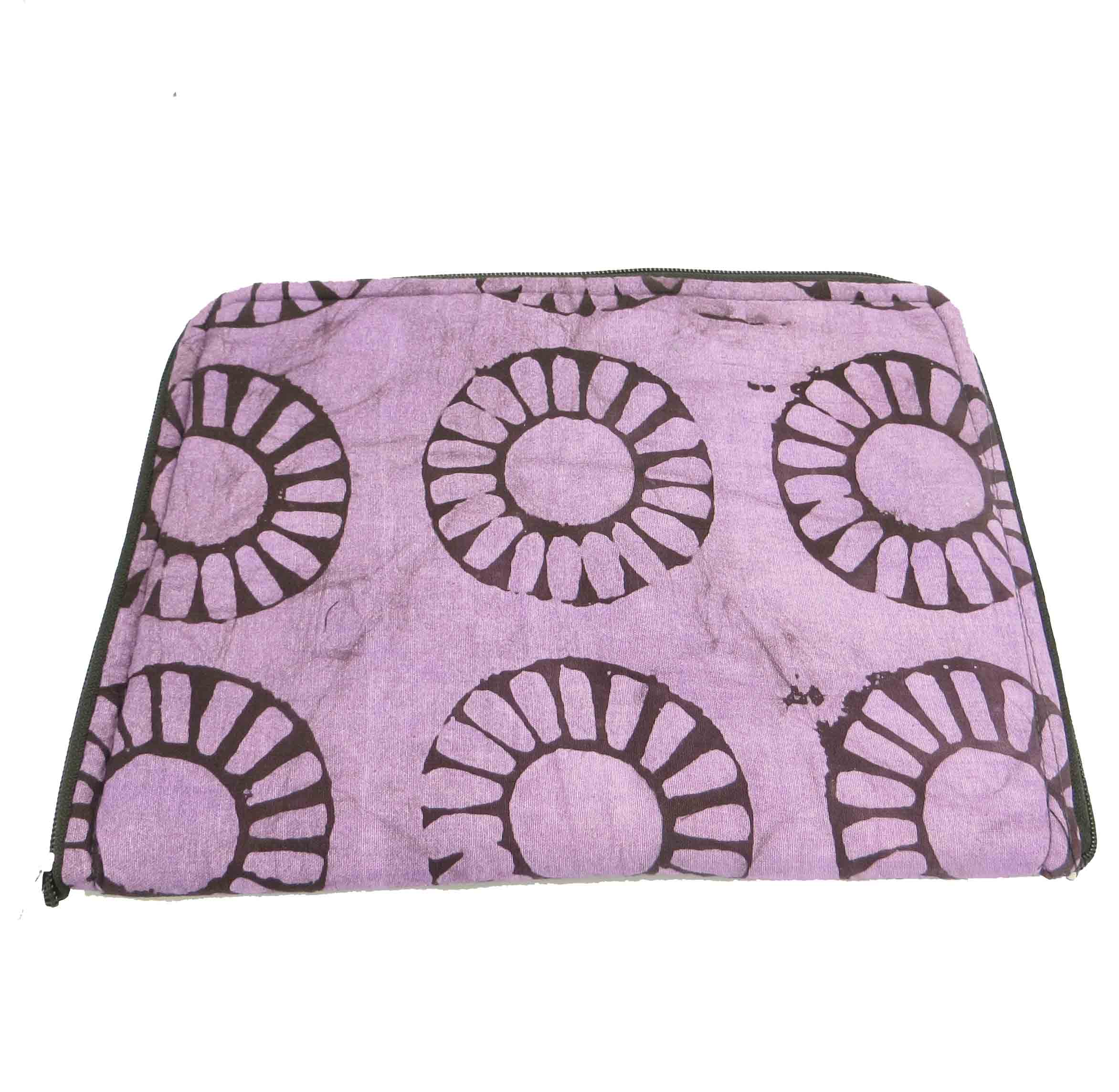 Cloth iPad cover - purple batik