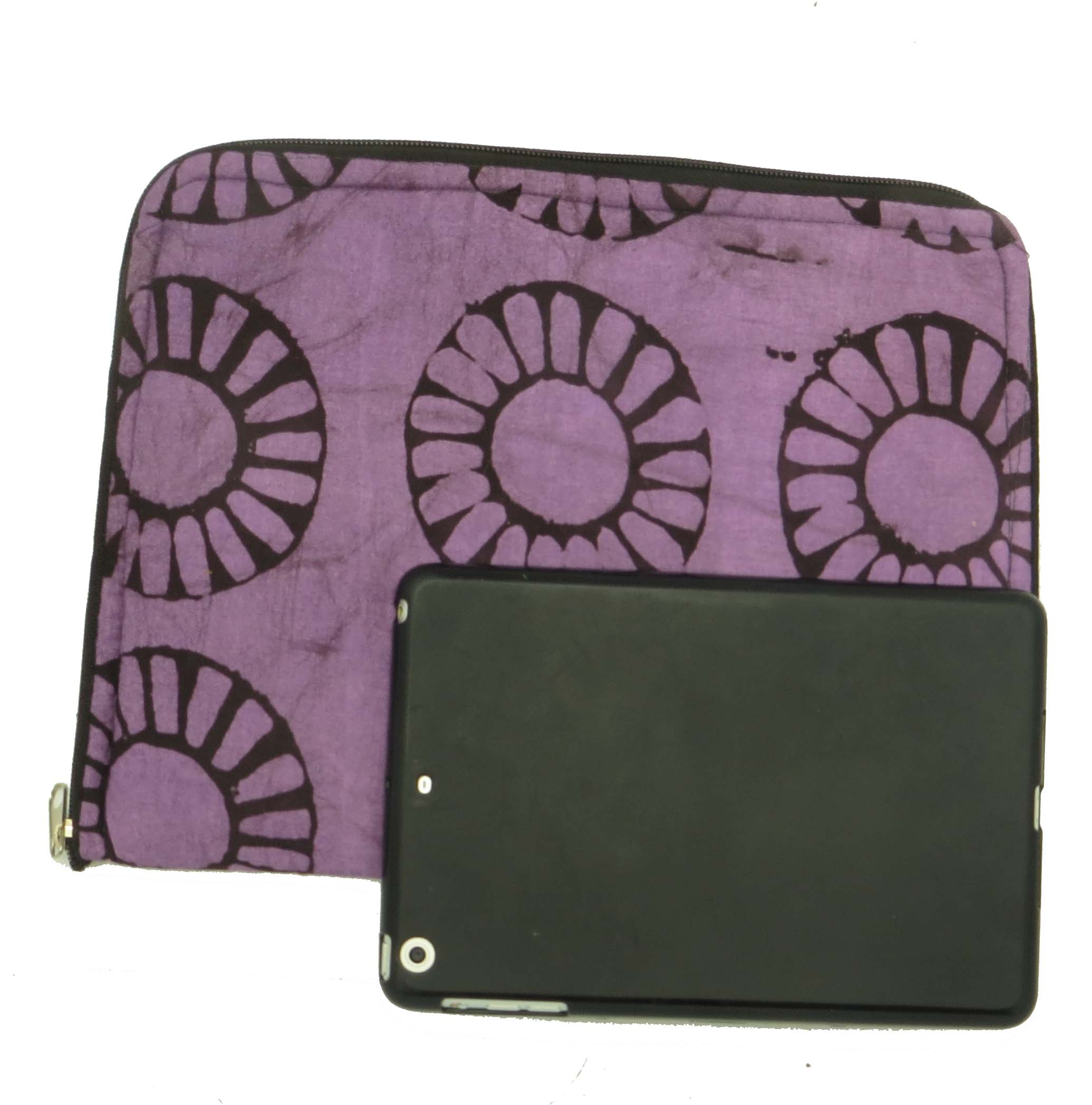 Cloth iPad bag - purple batik