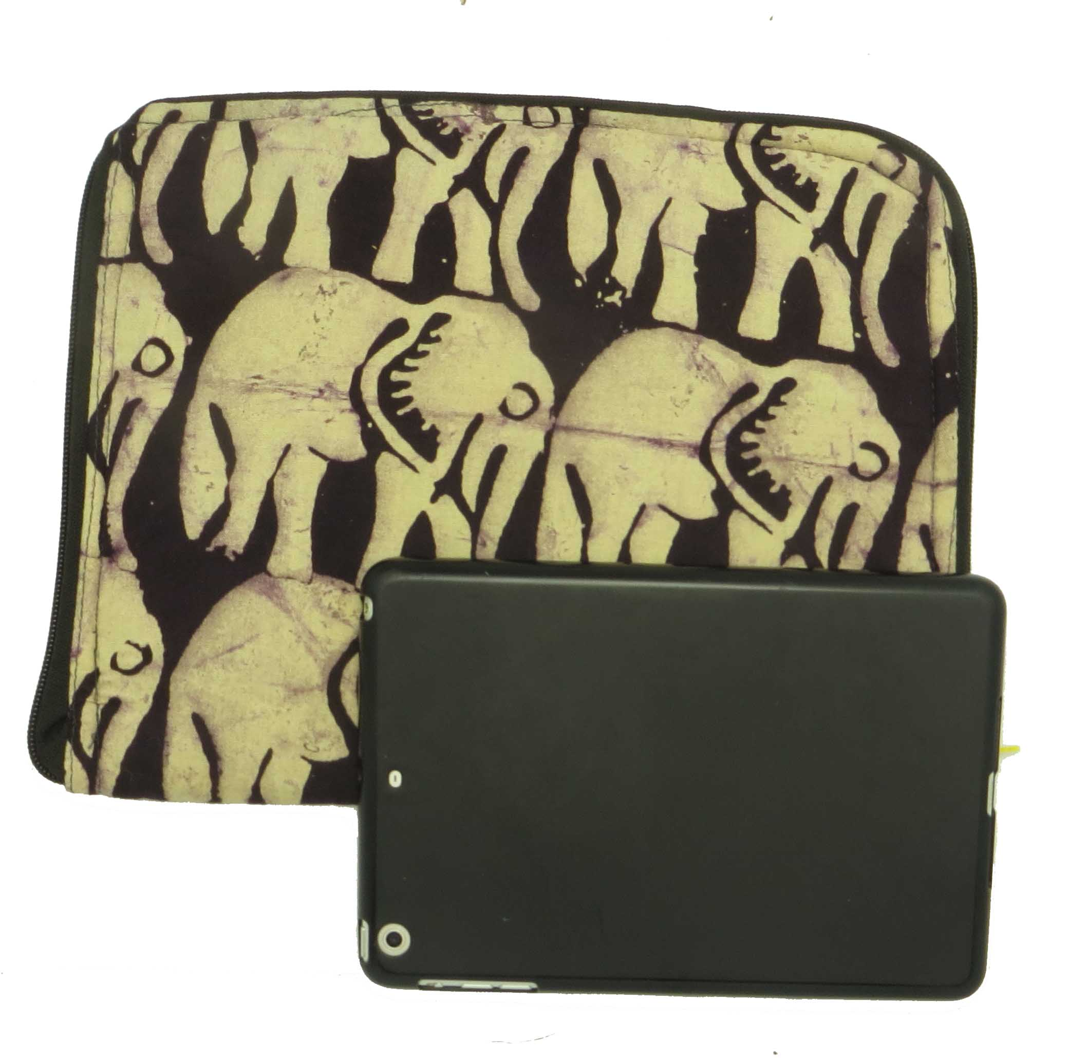 Cloth iPad cover - all over elephant
