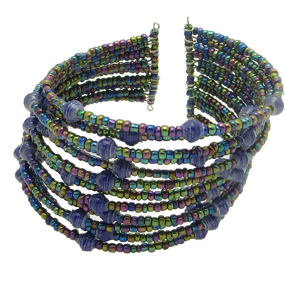 Beaded cuff bracelet - navy blue