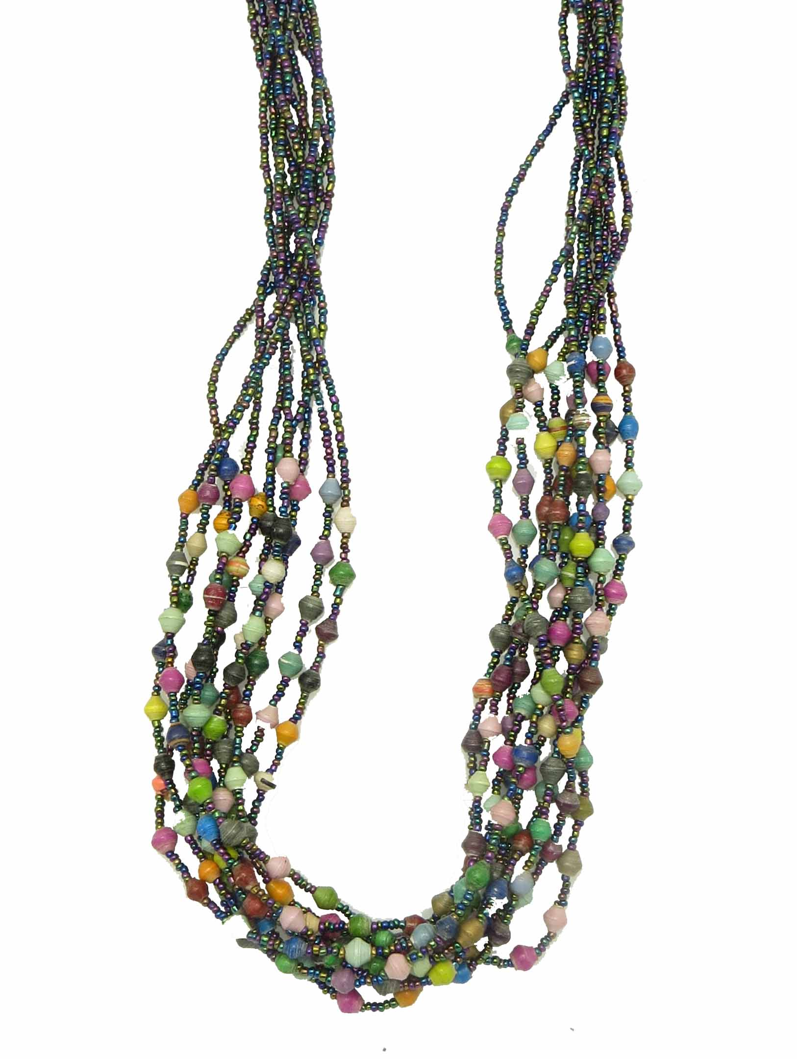 Paper/seed bead multi-strand - multi-color necklace