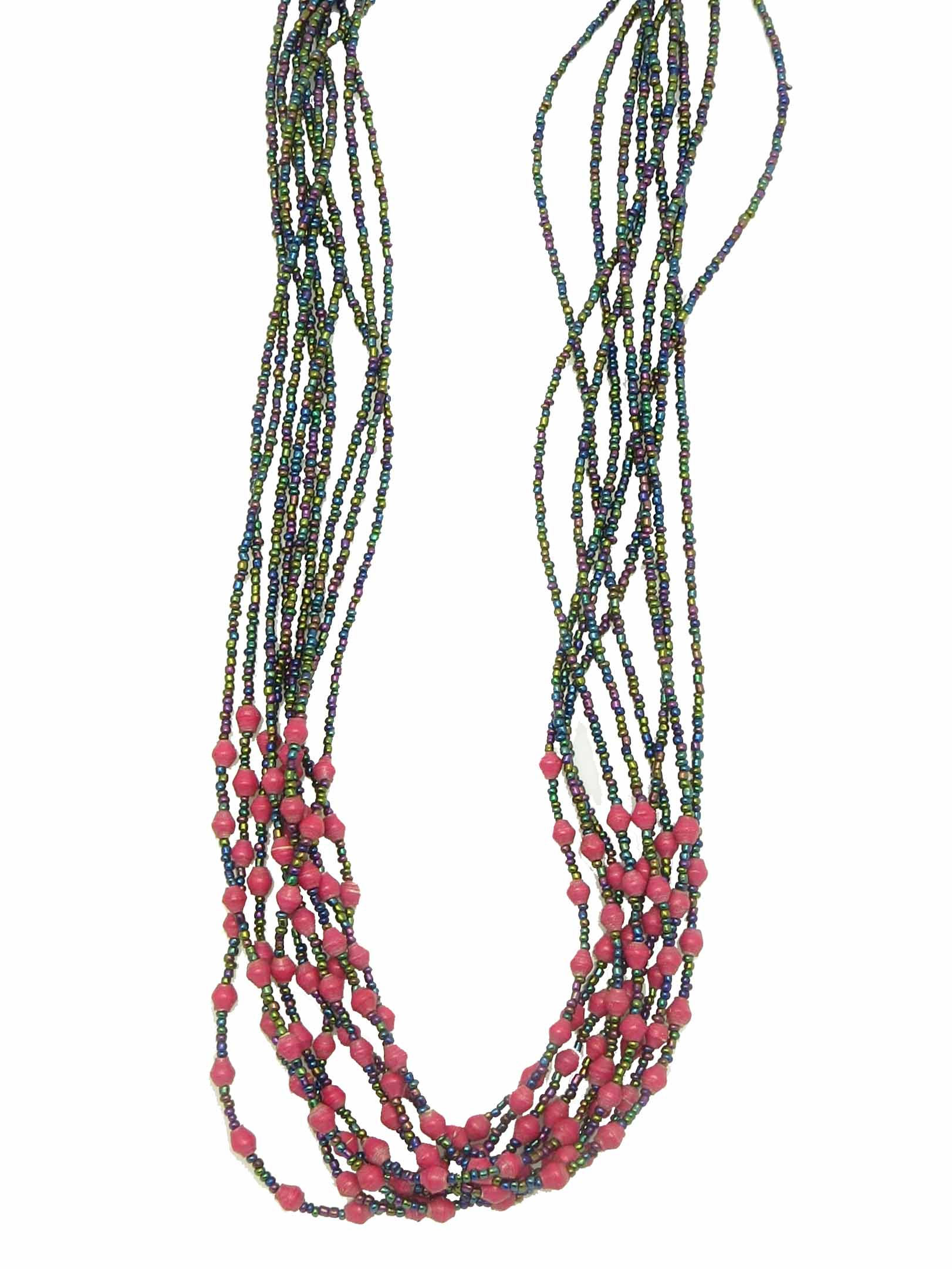Paper/seed bead multi-strand - hot pink