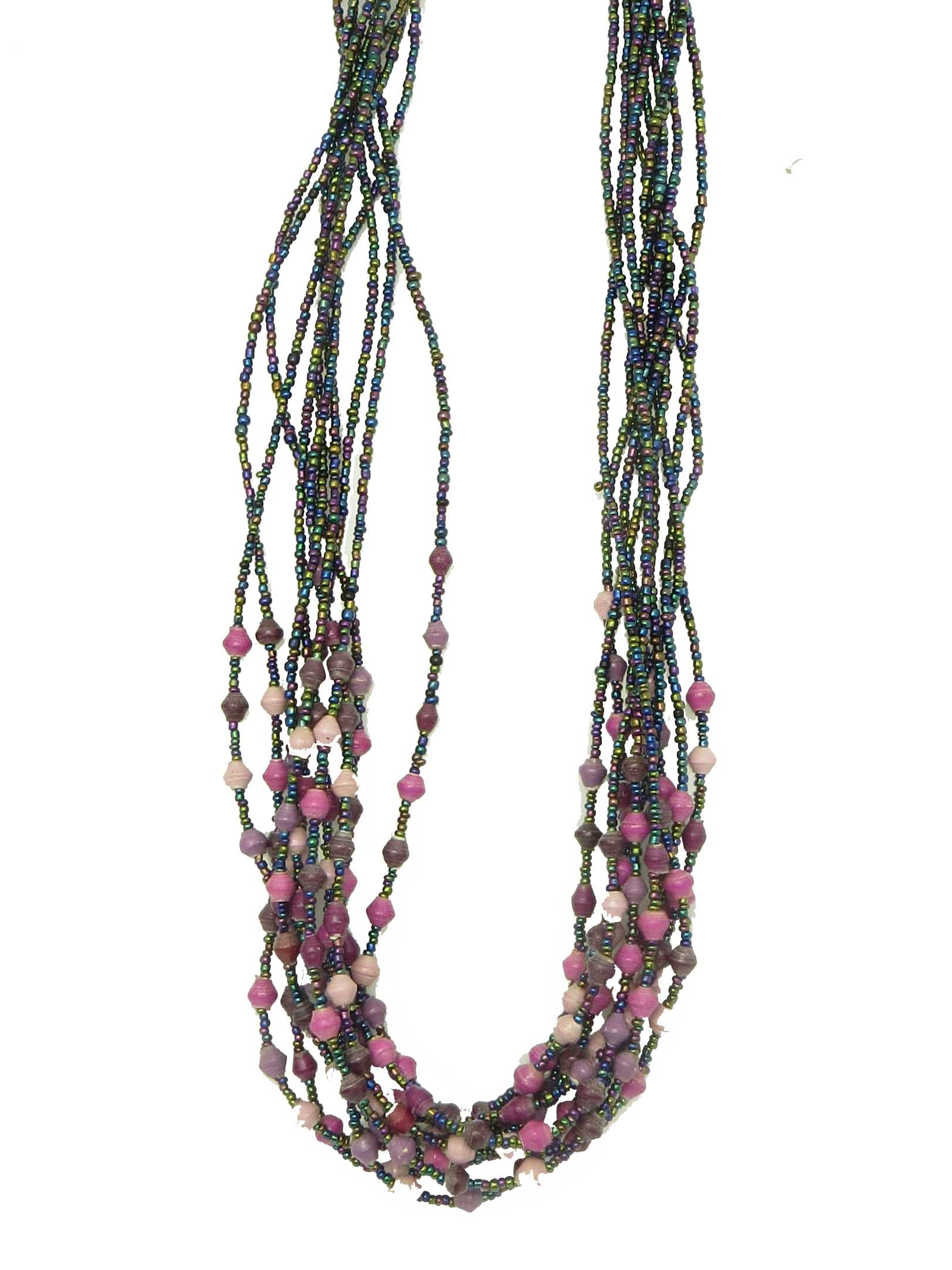 Paper/seed bead multi-strand - shades of purple necklace
