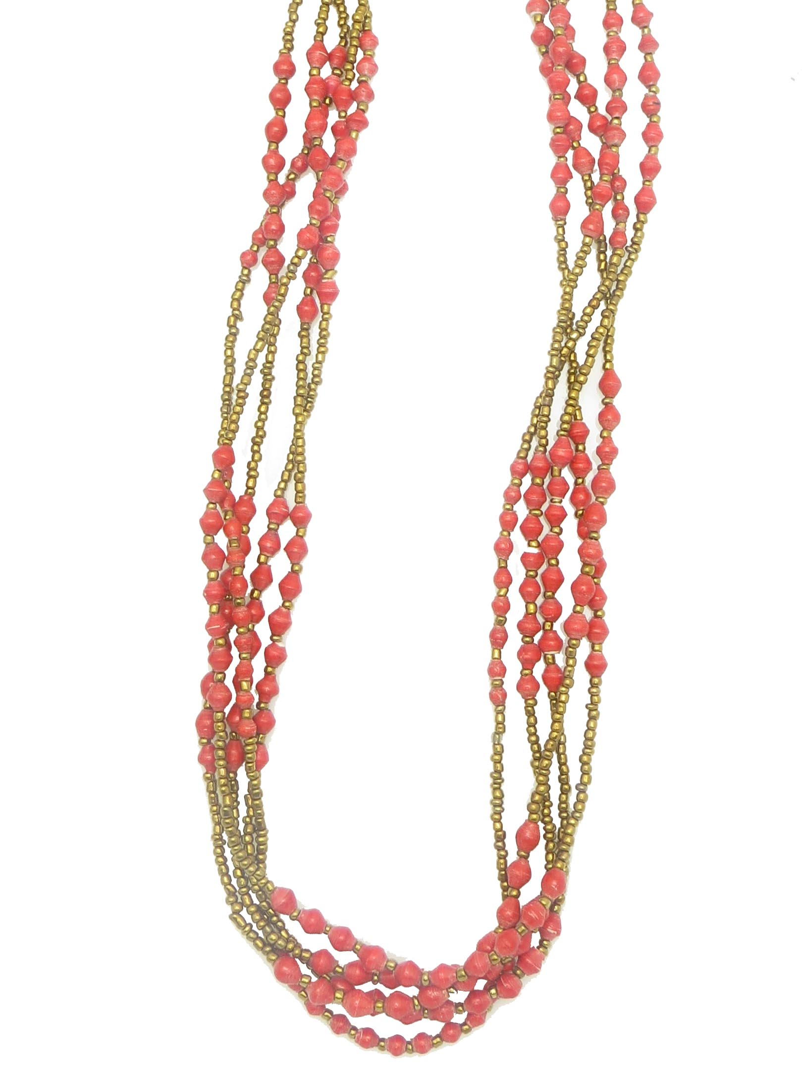 Specialty gold and red necklace