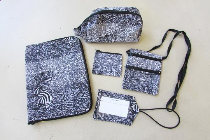 Ipad bag & matching accessories - zebra striped