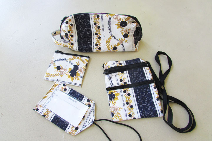 NEW cloth accessory bag sets - navy gold white patterned