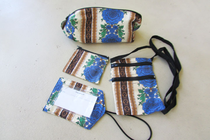 NEW cloth accessory bag sets - blue flower with ivory & browns