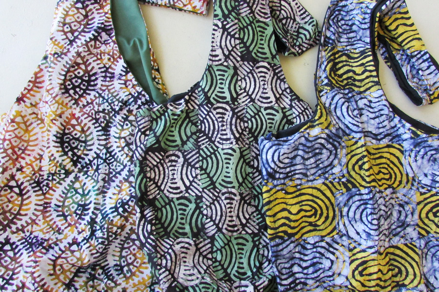Sling bag - batiks in swirled patterns