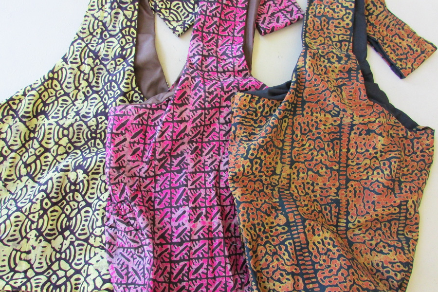 Sling bag - batiks in hot pink & orangish tan & yellow