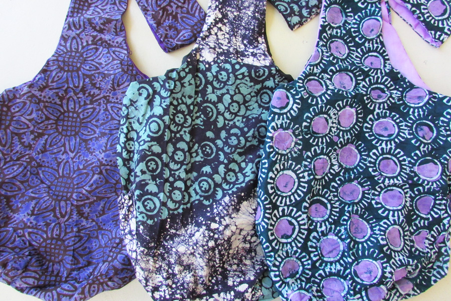 Sling bag - batiks in blues, green & lavender