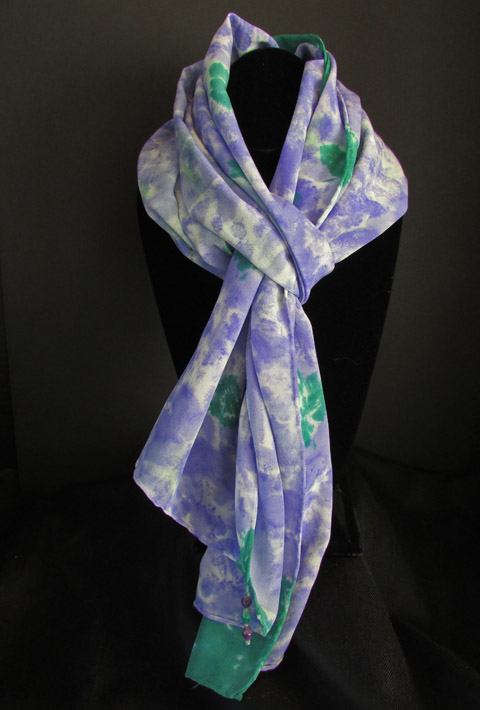 Silk scarf - purple and green swirls