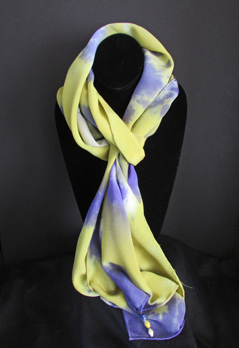 Silk scarf - yellow-green & purple patterned