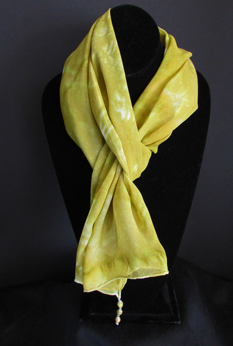 Chiffon (silk) scarf - subtle yellow w/light gold circles