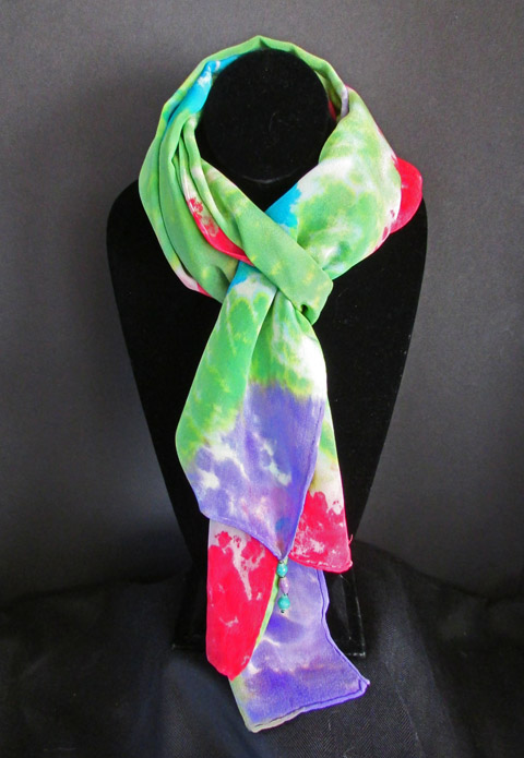 Silk scarf - green purple & red color blocks