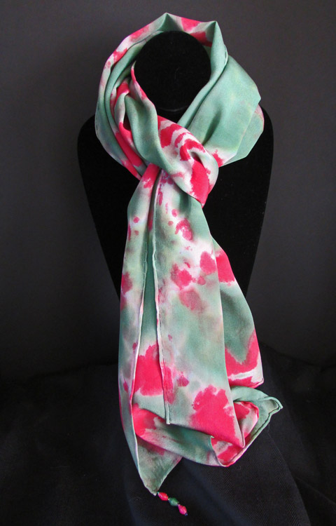 Silk scarf - forest green & rosy red patterned