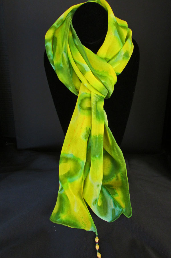 Chiffon (silk) scarf - yellow & green circles