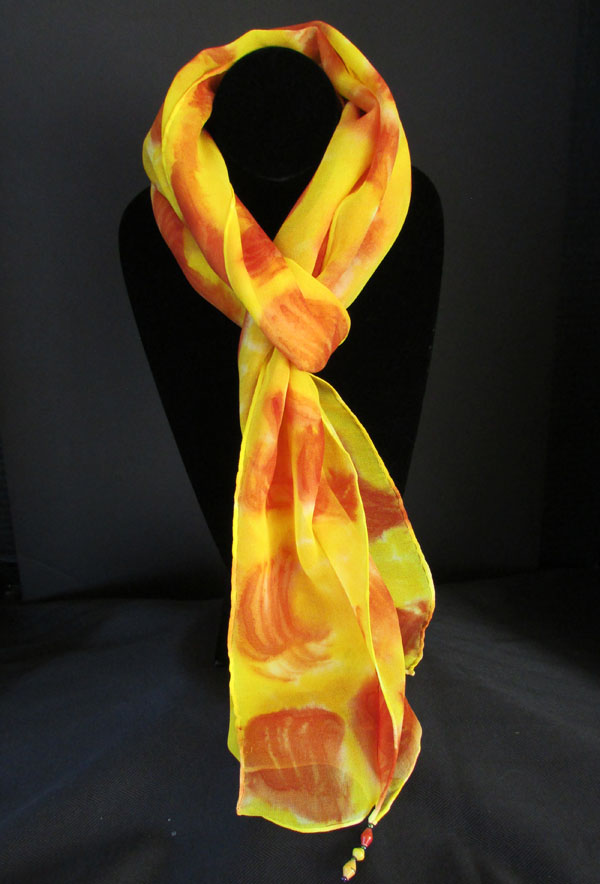 Chiffon (silk) scarf - yellow with orange swirls