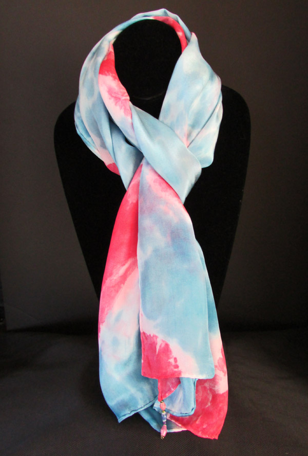 Silk scarf - true blue & red patterned