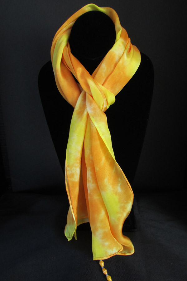 Silk scarf - orange with yellow sunbursts