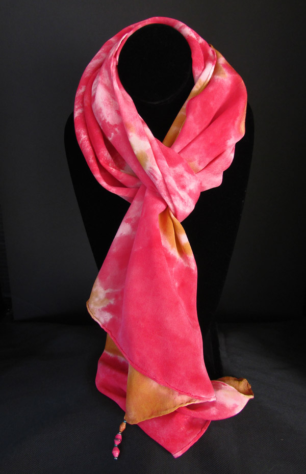 Silk scarf - magenta and muted orange patterned
