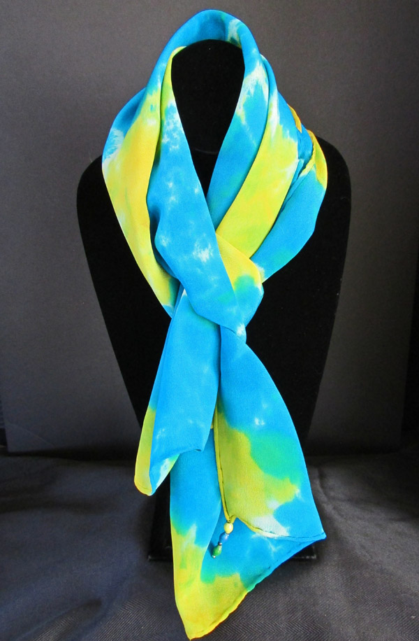 Silk scarf - turquoise with golden yellow color bursts