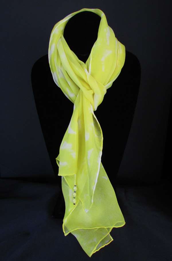 Chiffon (silk) scarf - lemon yellow patterns