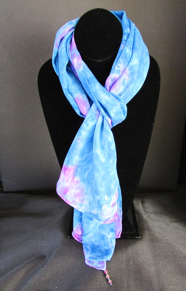 Silk scarf - true blue with pink color bursts