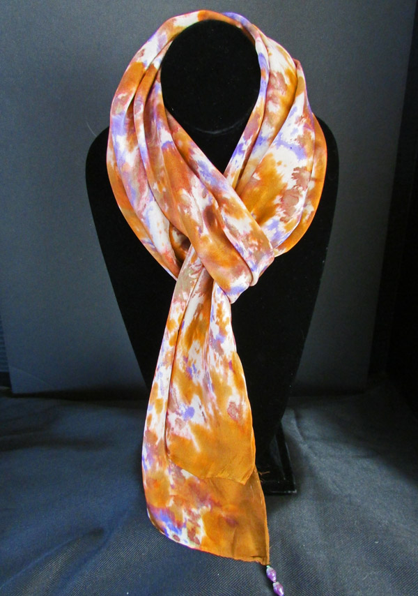 Silk scarf - rust brown w/blue & white patterns