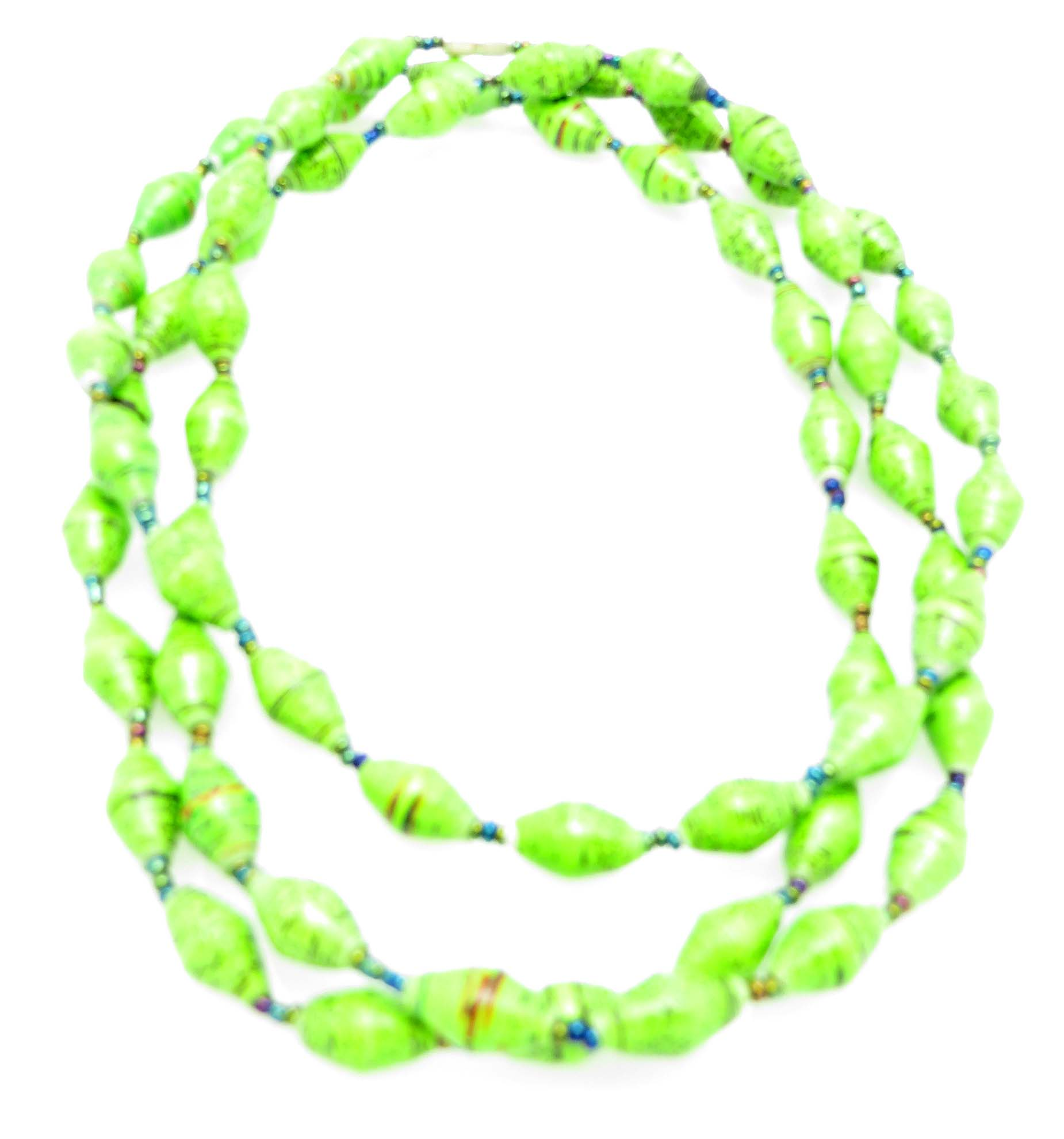 Lime green long necklace