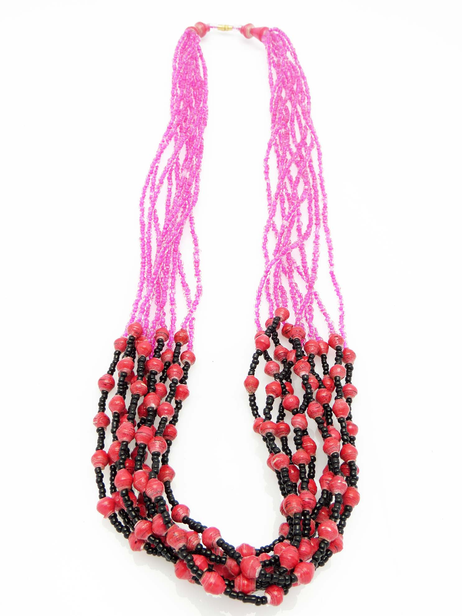 Paper/seed bead multi-strand - hot pink w/ pink
