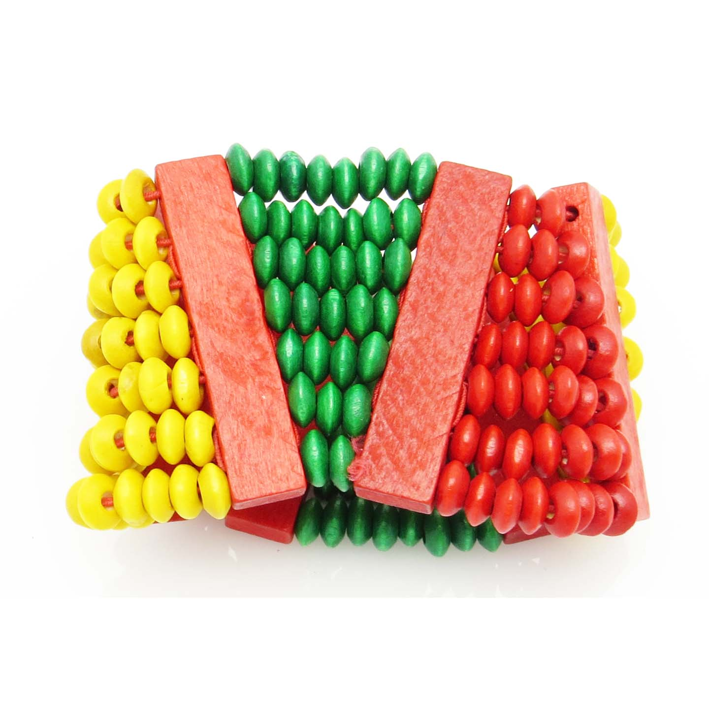Triangles (red,green,yellow) large wood bead bracelet