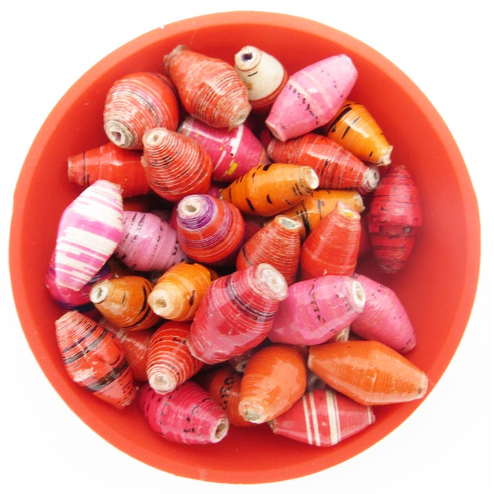 Red, orange, and pink bead mix