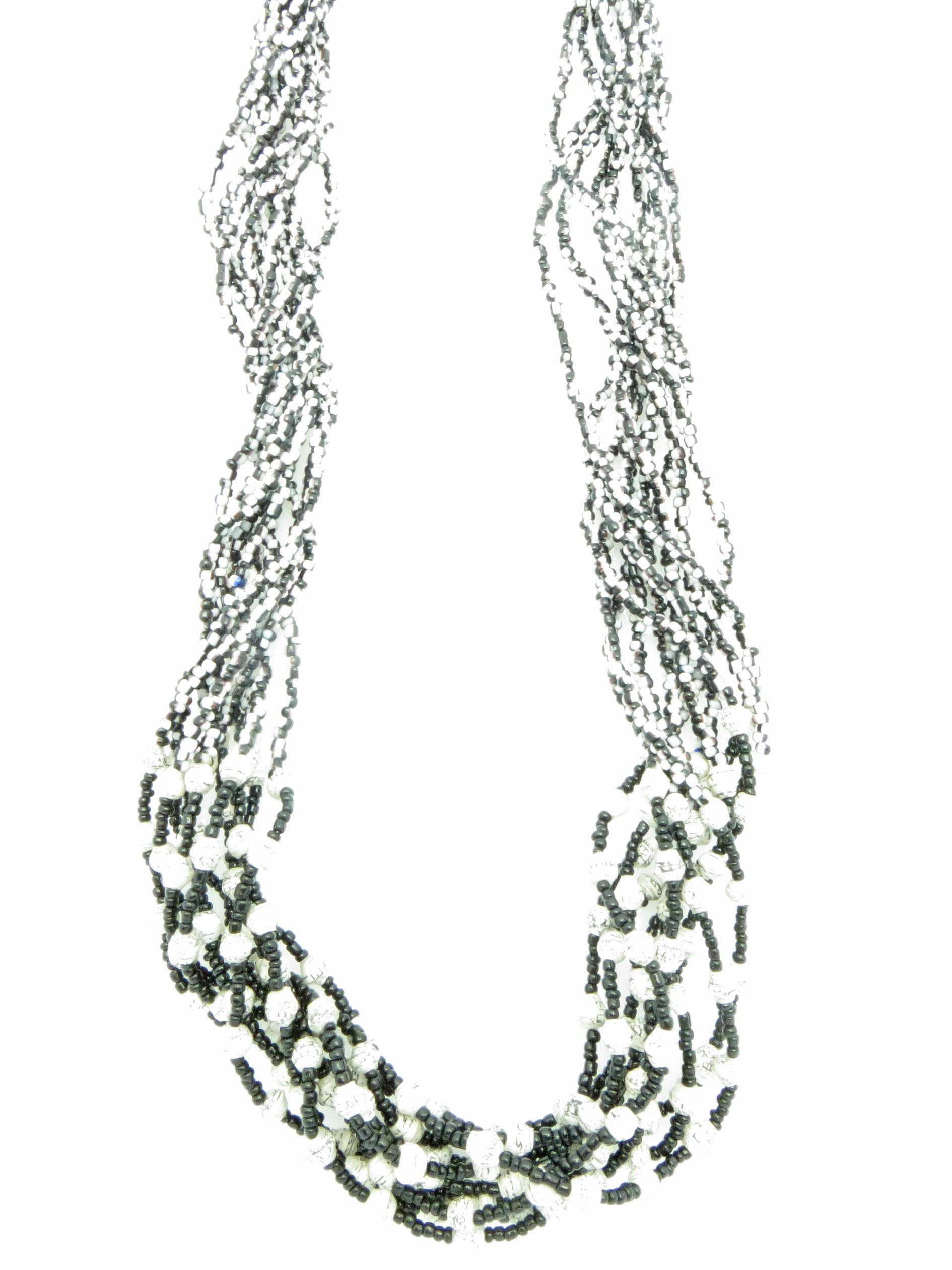 Paper/seed bead multi-strand - black & white mixed necklace