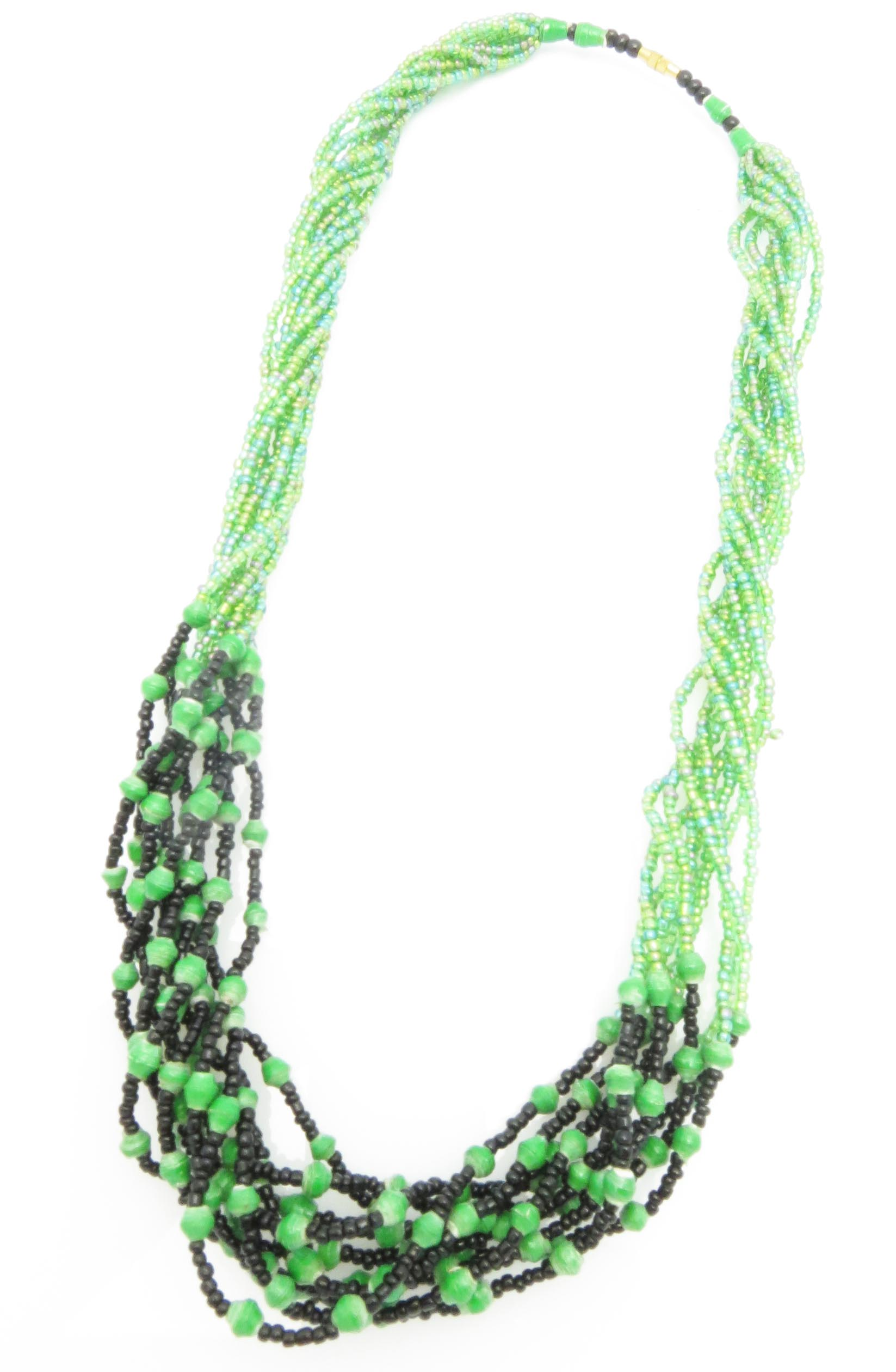 Paper/seed bead multi-strand - green