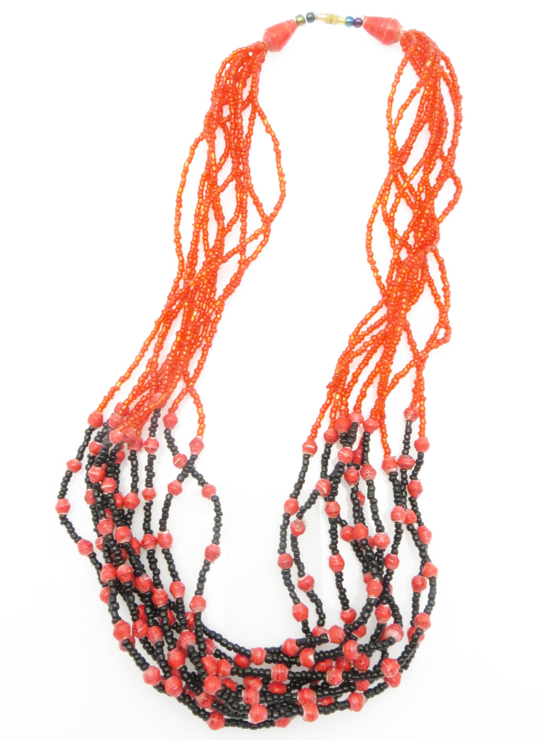 Paper/seed bead multi-strand - red