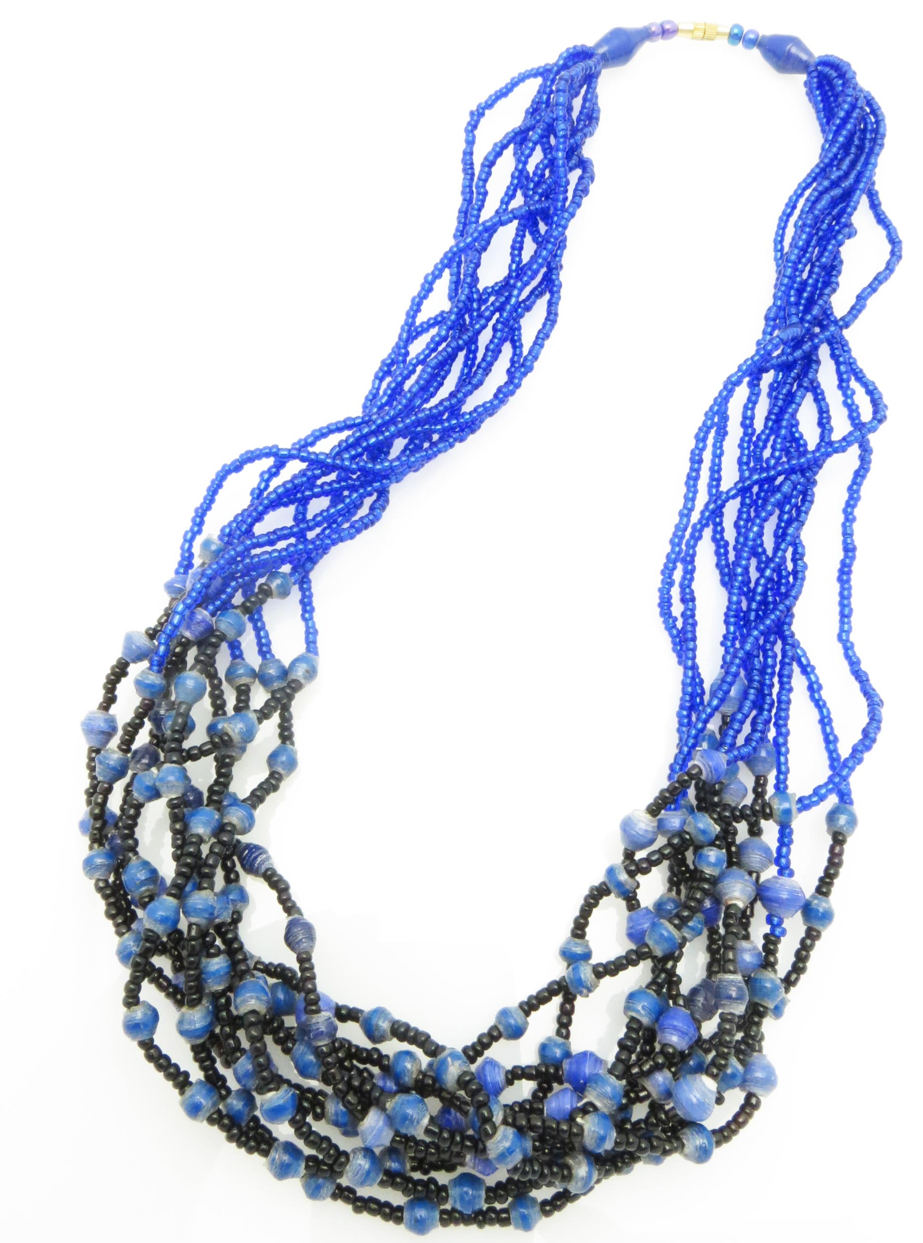 Paper/seed bead multi-strand - blue necklace
