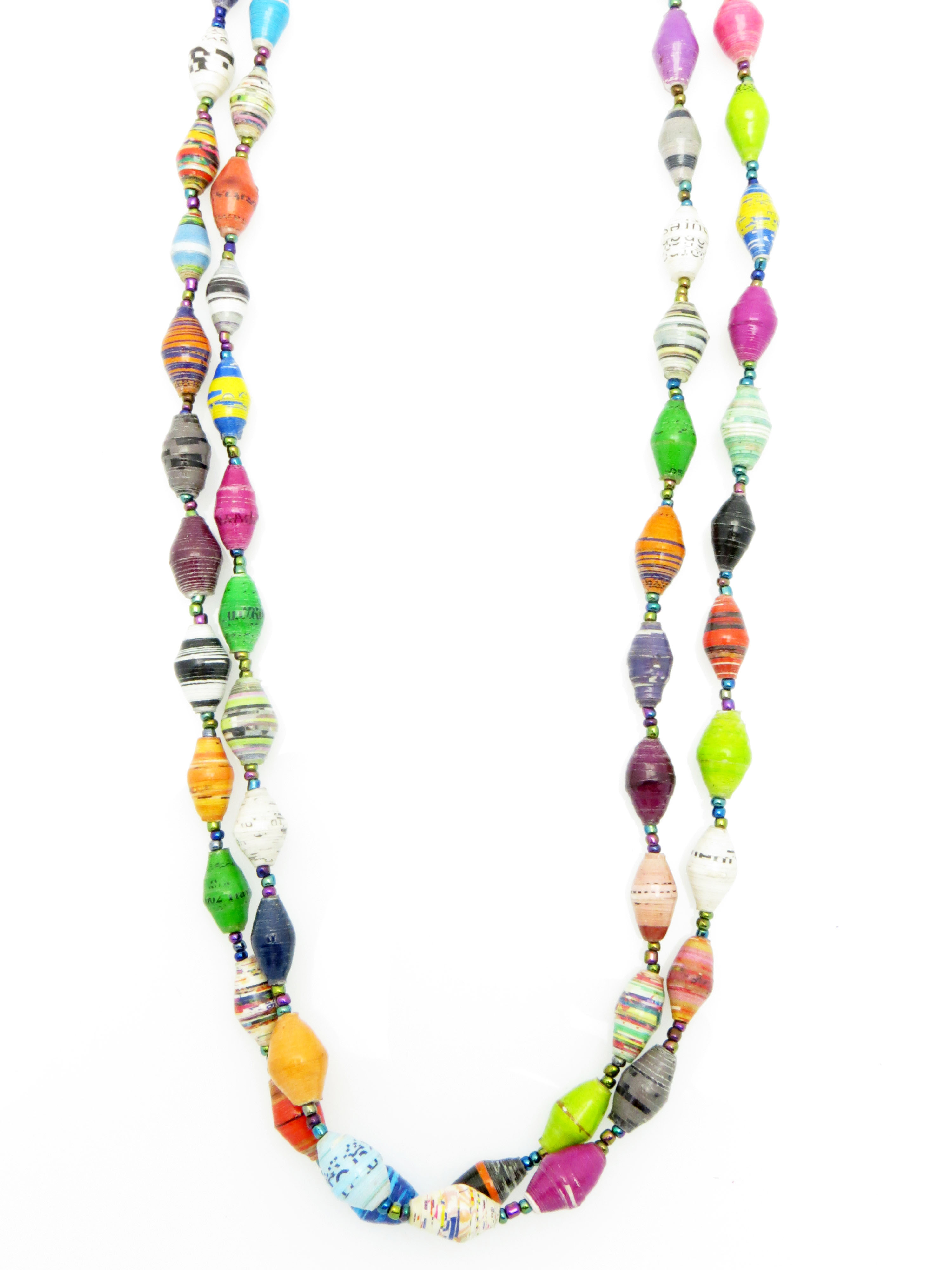 Multicolor double strand necklace