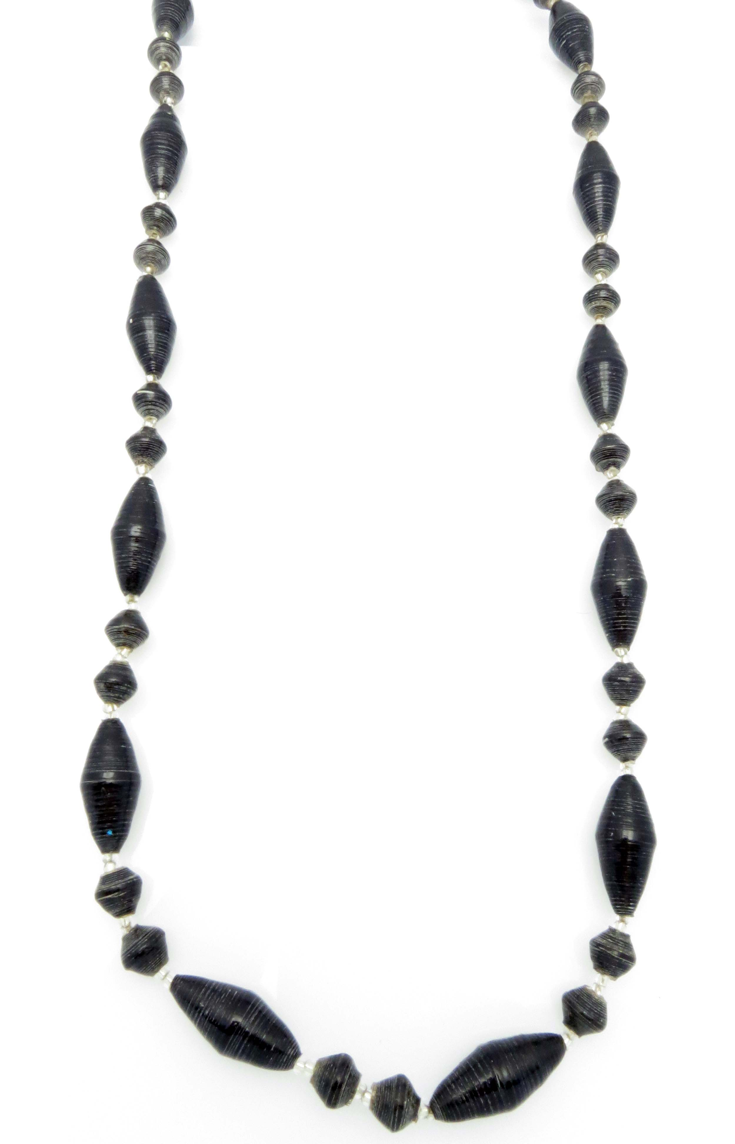 Black oval bead necklace